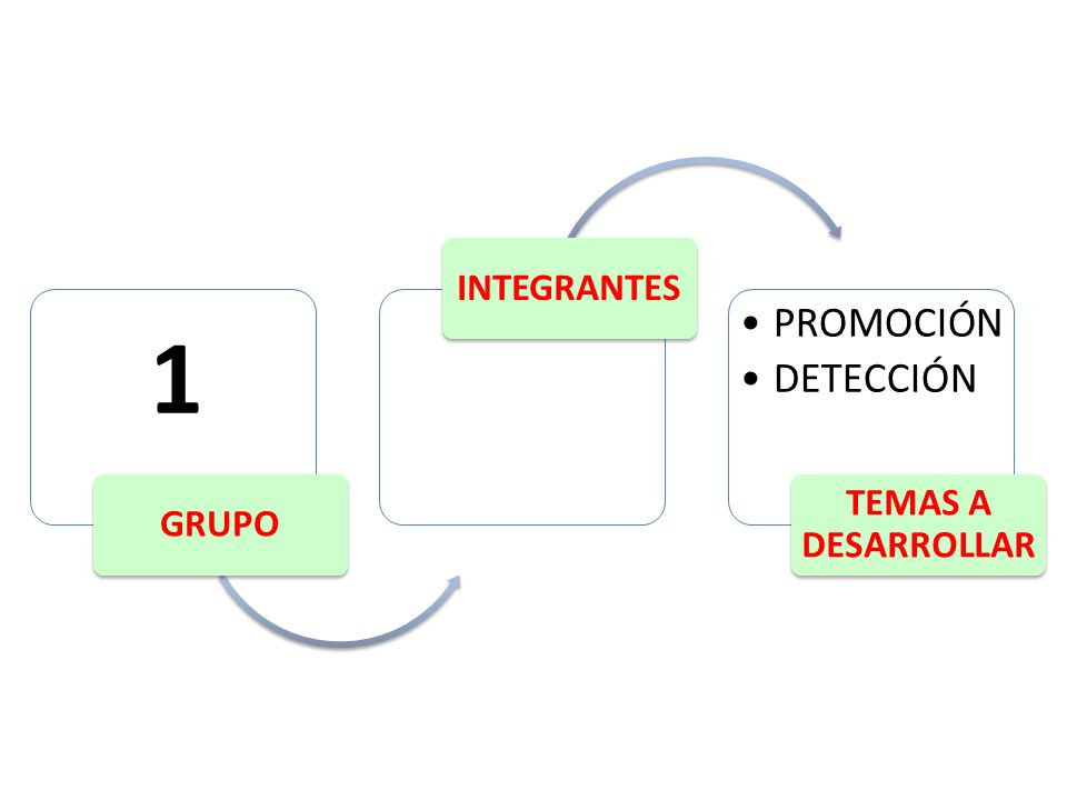 GRUPO INTEGRANTES PROMOCIÓN DETECCIÓN TEMAS A DESARROLLAR 1