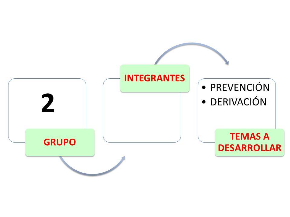 GRUPO INTEGRANTES PREVENCIÓN DERIVACIÓN TEMAS A DESARROLLAR 2