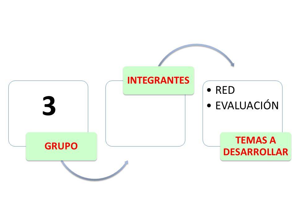GRUPO INTEGRANTES RED EVALUACIÓN TEMAS A DESARROLLAR 3