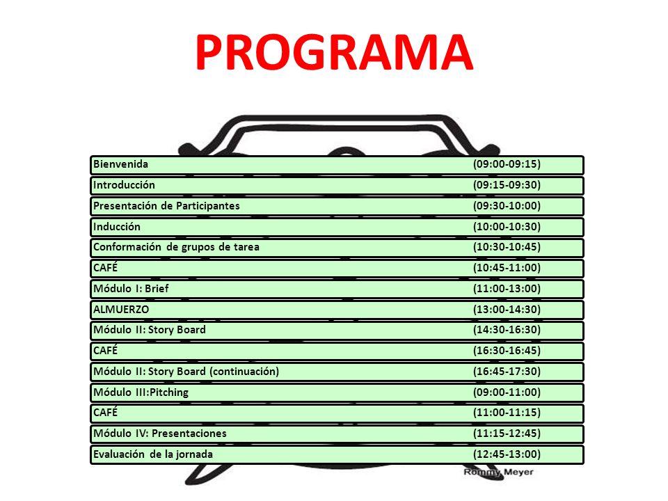 PROGRAMA Bienvenida (09:00-09:15) Introducción (09:15-09:30)