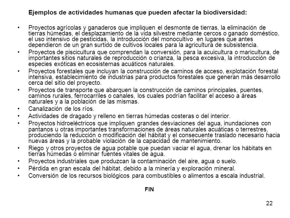 Ejemplos de actividades humanas que pueden afectar la biodiversidad: