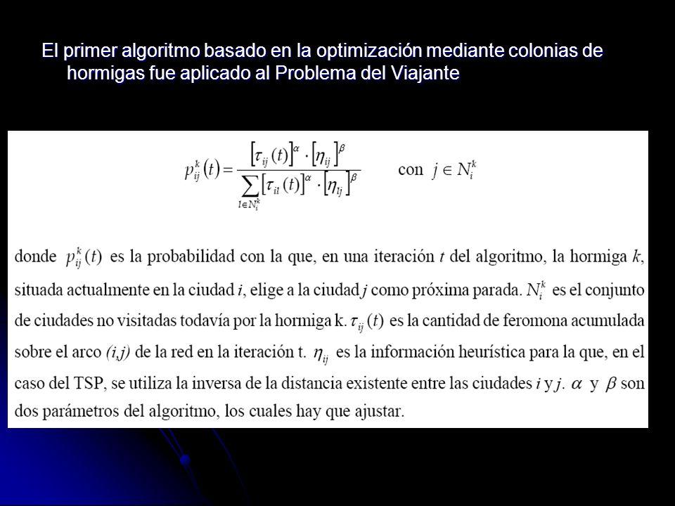 El primer algoritmo basado en la optimización mediante colonias de hormigas fue aplicado al Problema del Viajante