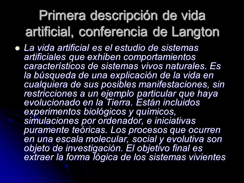 Primera descripción de vida artificial, conferencia de Langton