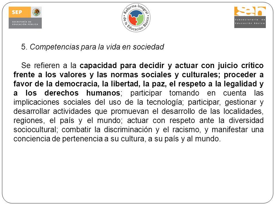 5. Competencias para la vida en sociedad