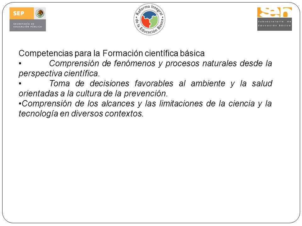 Competencias para la Formación científica básica