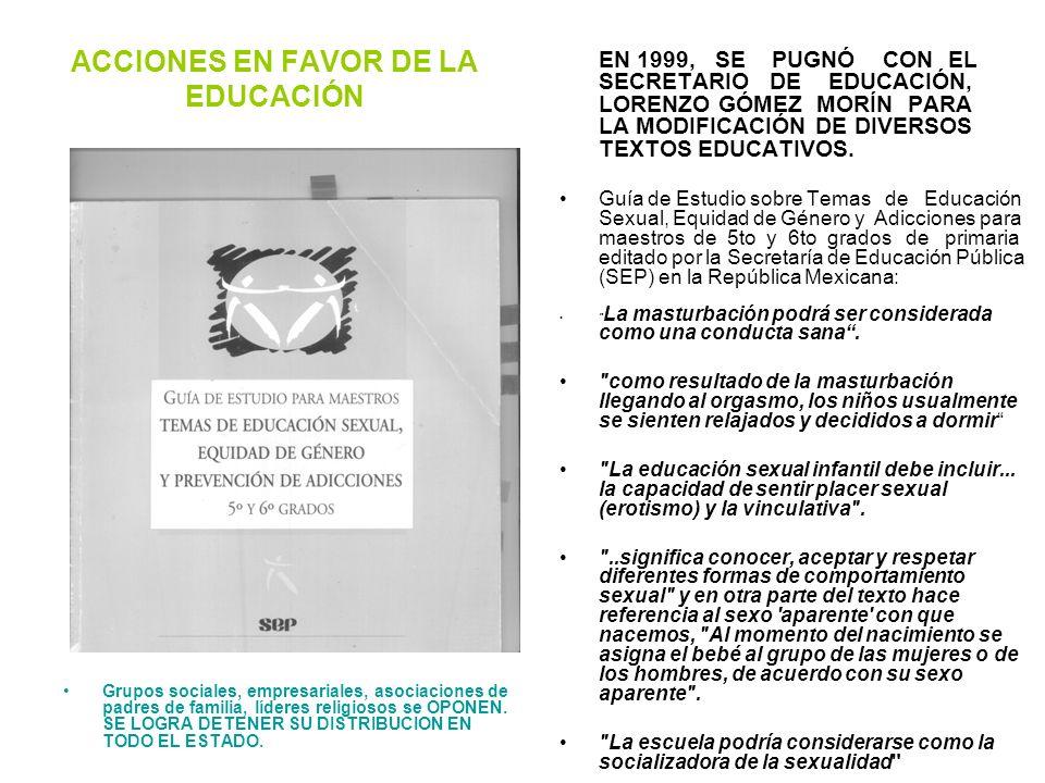 ACCIONES EN FAVOR DE LA EDUCACIÓN
