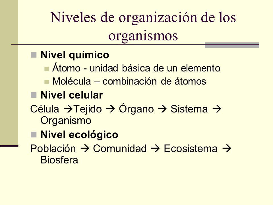 Niveles de organización de los organismos