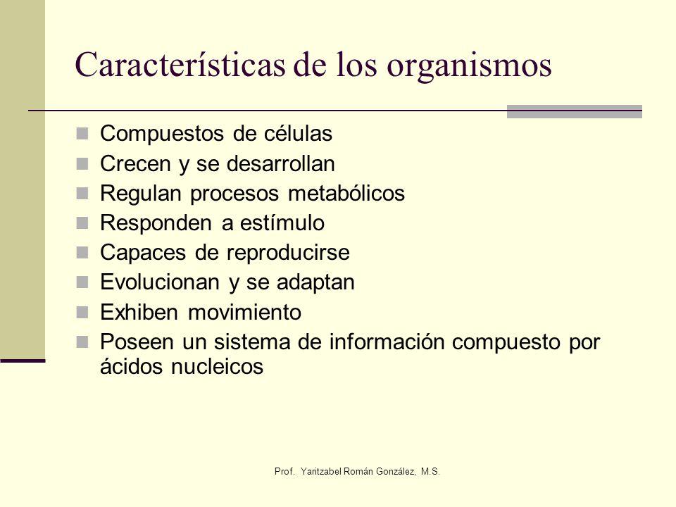 Características de los organismos