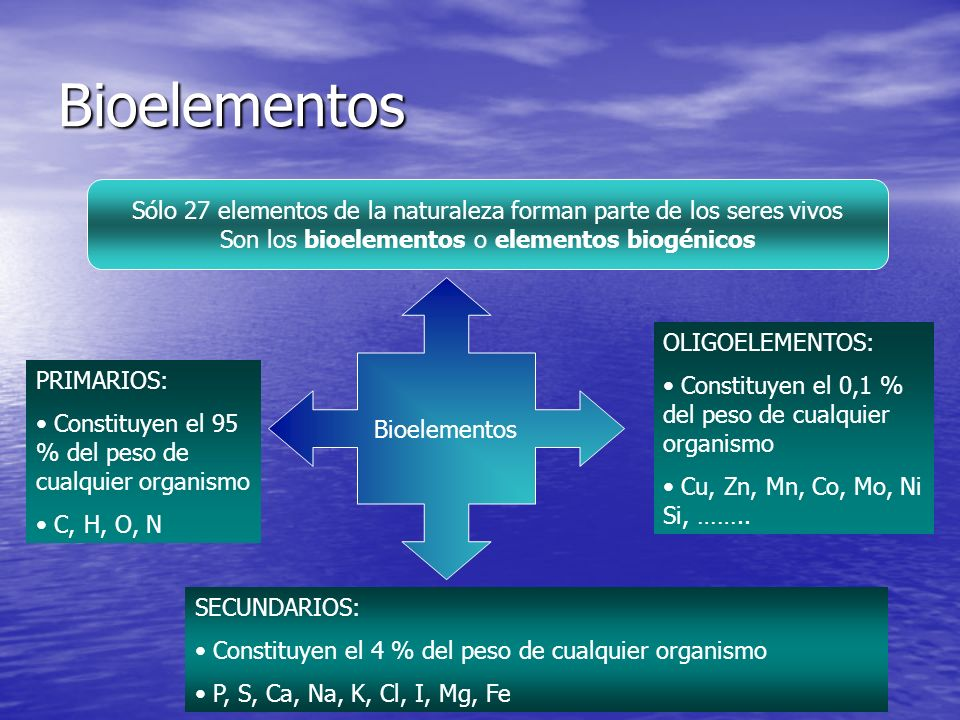 Bioelementos Sólo 27 elementos de la naturaleza forman parte de los seres vivos. Son los bioelementos o elementos biogénicos.