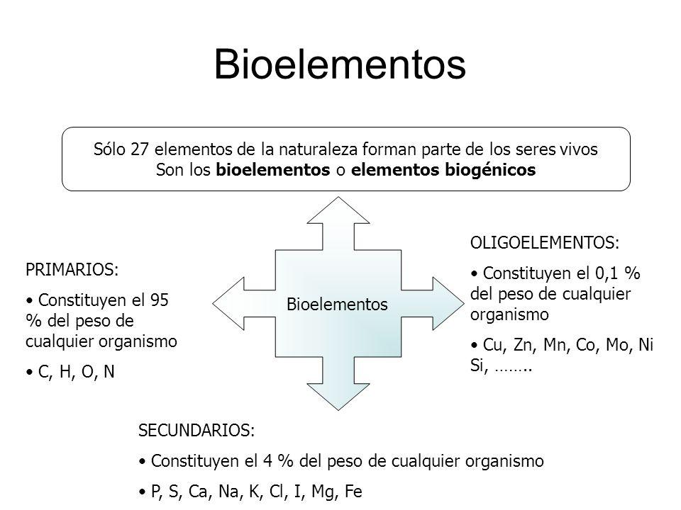BioelementosSólo 27 elementos de la naturaleza forman parte de los seres vivos. Son los bioelementos o elementos biogénicos.