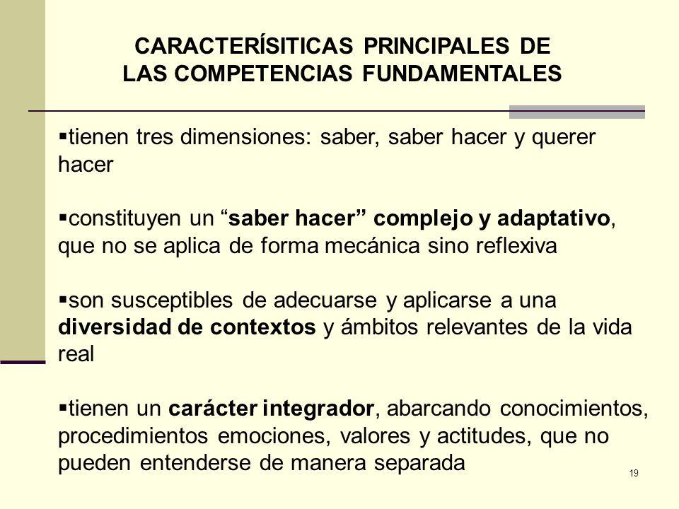 CARACTERÍSITICAS PRINCIPALES DE LAS COMPETENCIAS FUNDAMENTALES