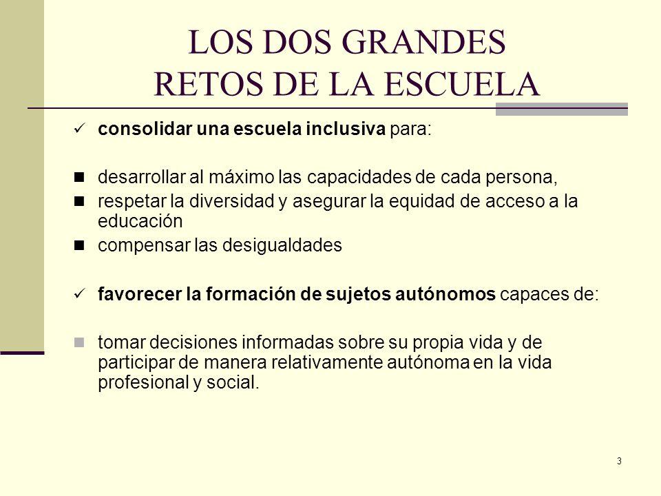 LOS DOS GRANDES RETOS DE LA ESCUELA