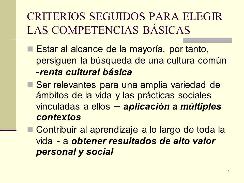 CRITERIOS SEGUIDOS PARA ELEGIR LAS COMPETENCIAS BÁSICAS