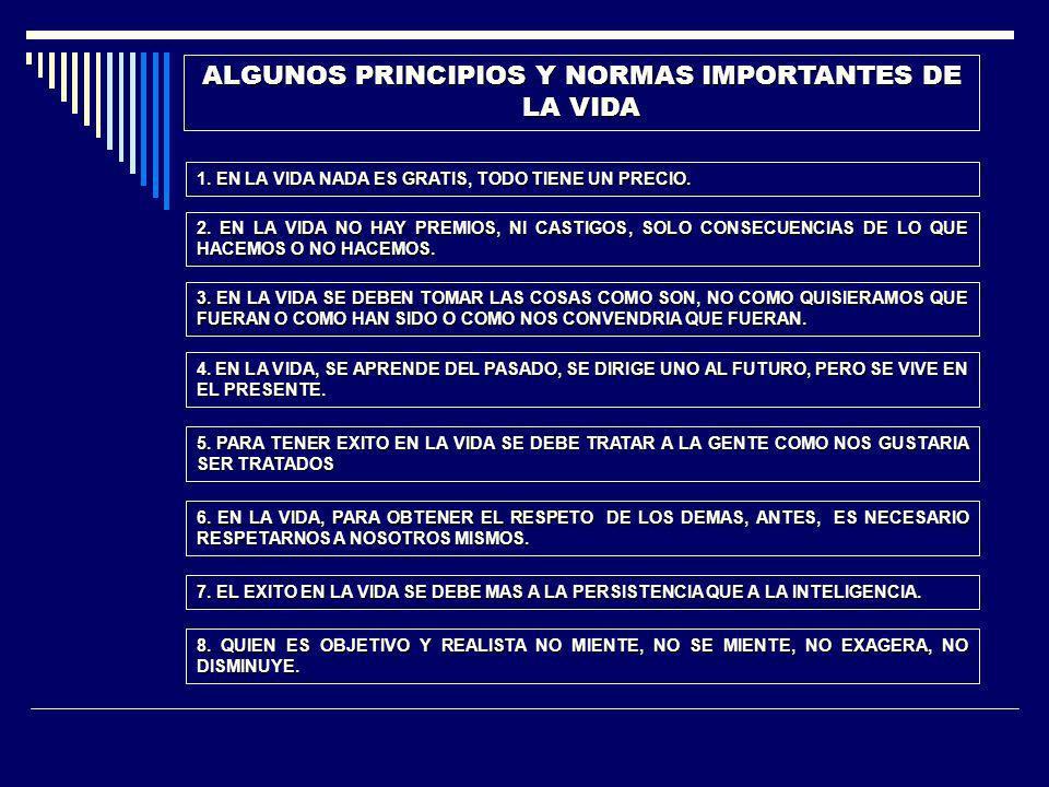 ALGUNOS PRINCIPIOS Y NORMAS IMPORTANTES DE LA VIDA