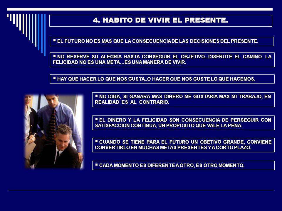 4. HABITO DE VIVIR EL PRESENTE.
