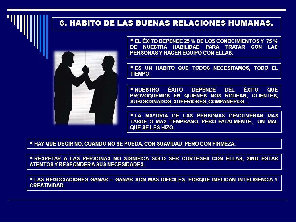 6. HABITO DE LAS BUENAS RELACIONES HUMANAS.