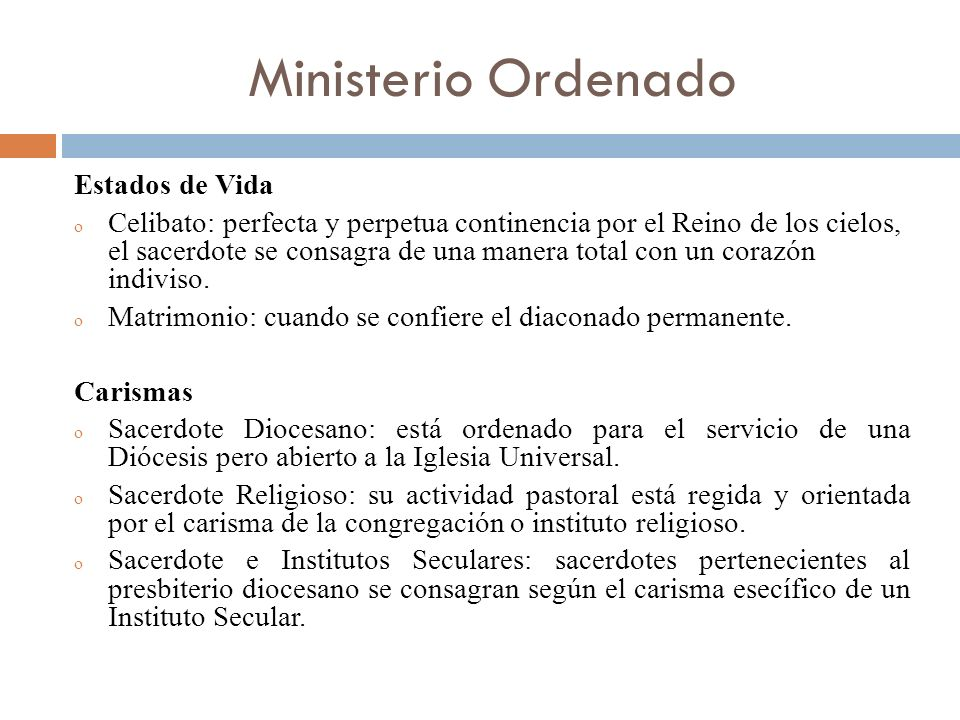Ministerio Ordenado Estados de Vida
