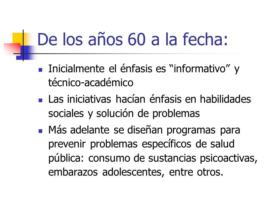 De los años 60 a la fecha: Inicialmente el énfasis es informativo y técnico-académico.