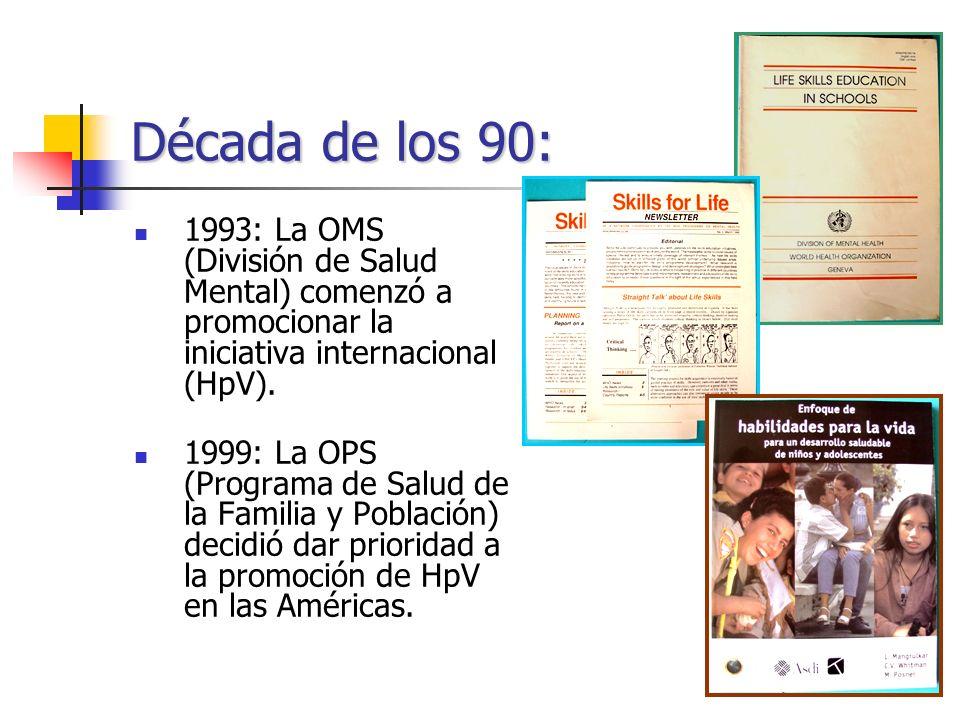 Década de los 90: 1993: La OMS (División de Salud Mental) comenzó a promocionar la iniciativa internacional (HpV).
