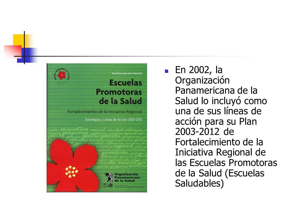En 2002, la Organización Panamericana de la Salud lo incluyó como una de sus líneas de acción para su Plan 2003-2012 de Fortalecimiento de la Iniciativa Regional de las Escuelas Promotoras de la Salud (Escuelas Saludables)