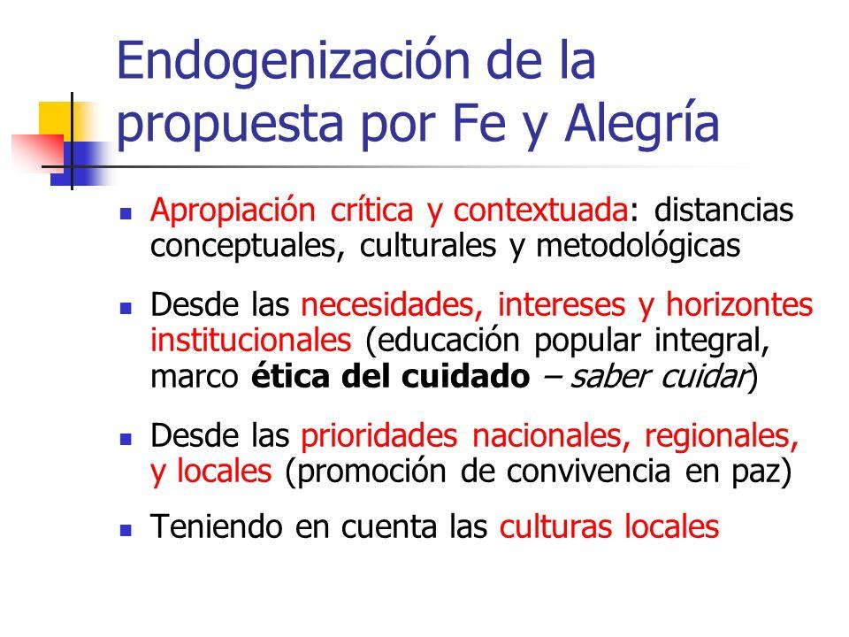 Endogenización de la propuesta por Fe y Alegría