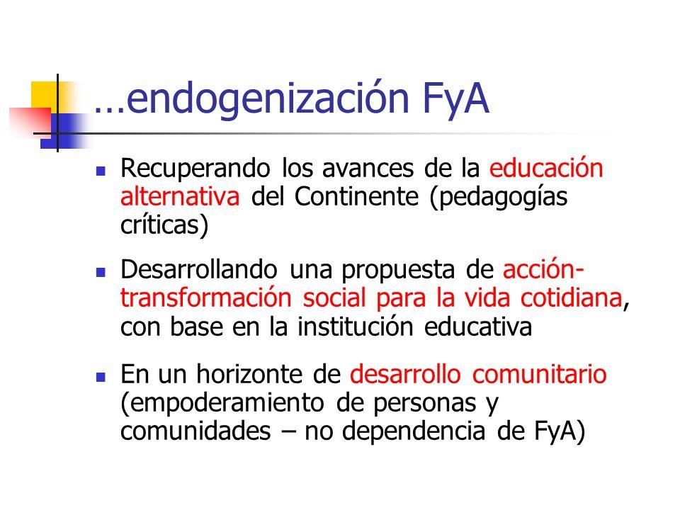 …endogenización FyA Recuperando los avances de la educación alternativa del Continente (pedagogías críticas)