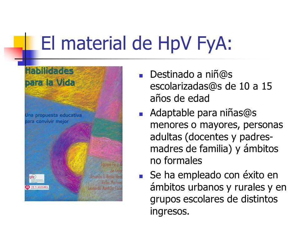El material de HpV FyA: Destinado a niñ@s escolarizadas@s de 10 a 15 años de edad.
