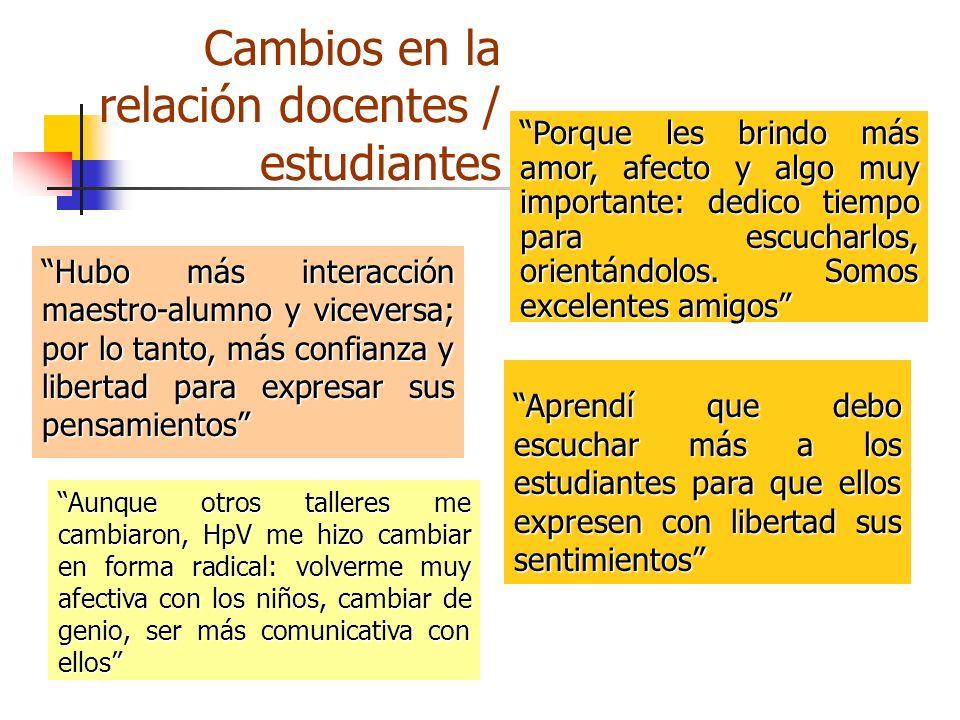 Cambios en la relación docentes / estudiantes