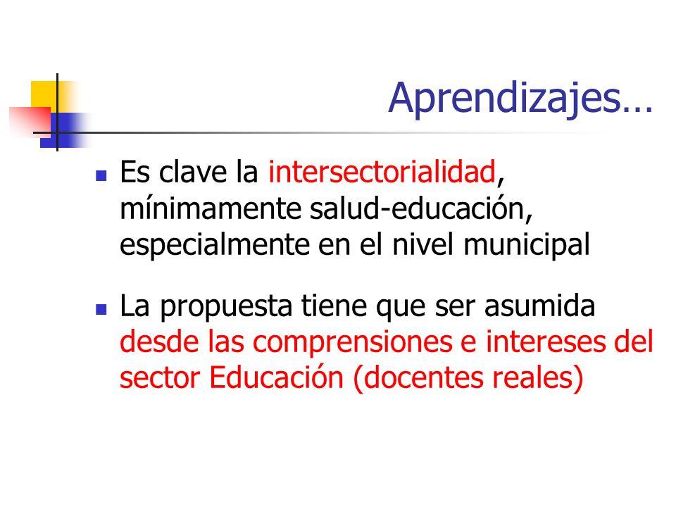 Aprendizajes… Es clave la intersectorialidad, mínimamente salud-educación, especialmente en el nivel municipal.
