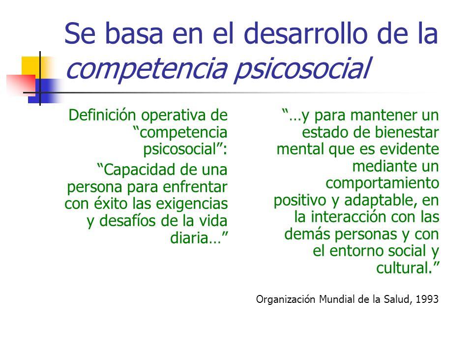 Se basa en el desarrollo de la competencia psicosocial