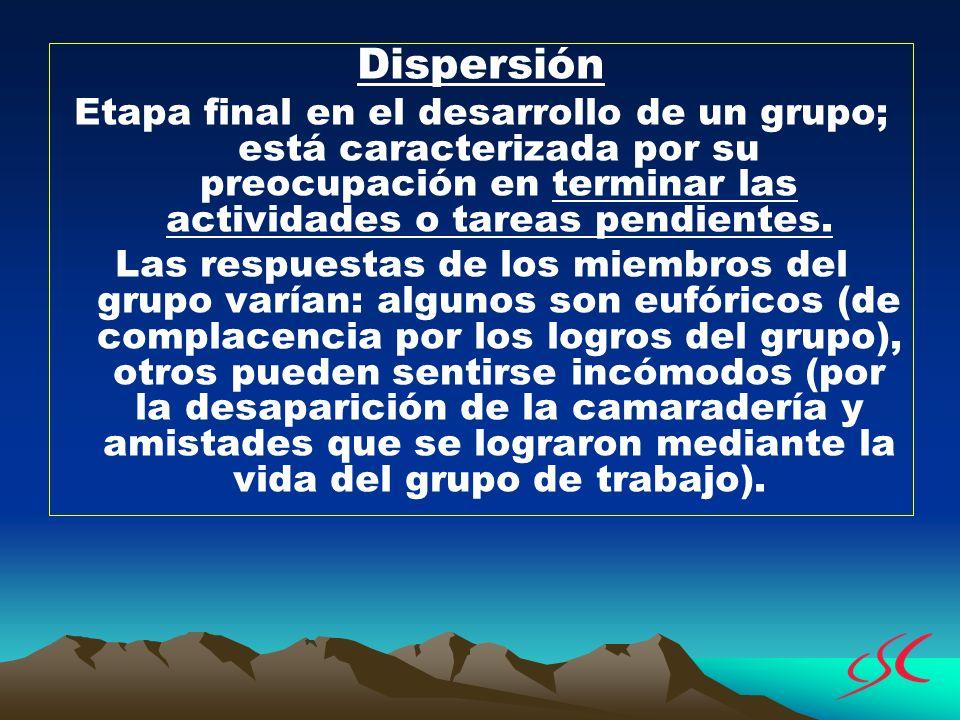 Dispersión Etapa final en el desarrollo de un grupo; está caracterizada por su preocupación en terminar las actividades o tareas pendientes.