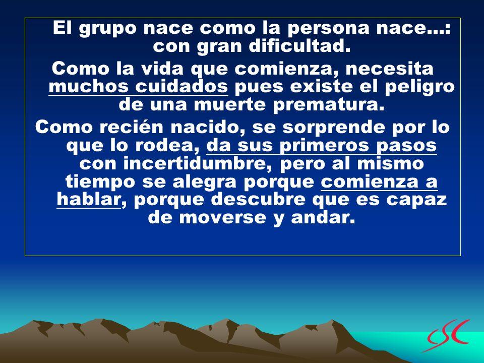 El grupo nace como la persona nace...: con gran dificultad.