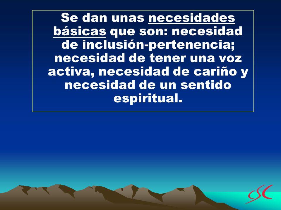 Se dan unas necesidades básicas que son: necesidad de inclusión-pertenencia; necesidad de tener una voz activa, necesidad de cariño y necesidad de un sentido espiritual.