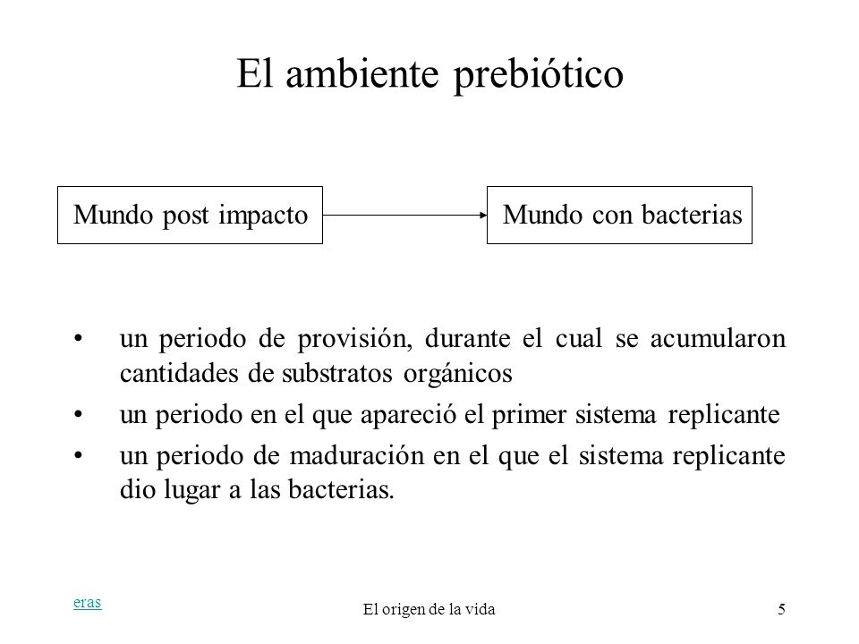 El ambiente prebiótico