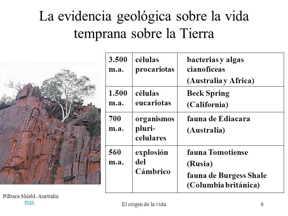 La evidencia geológica sobre la vida temprana sobre la Tierra