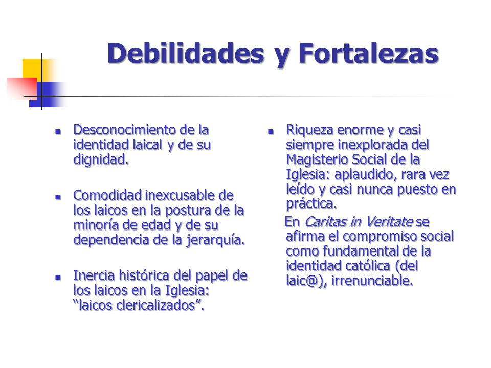 Debilidades y Fortalezas