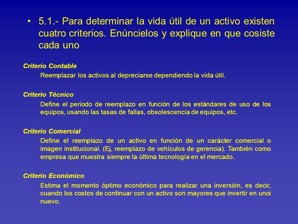 5.1.- Para determinar la vida útil de un activo existen cuatro criterios. Enúncielos y explique en que cosiste cada uno