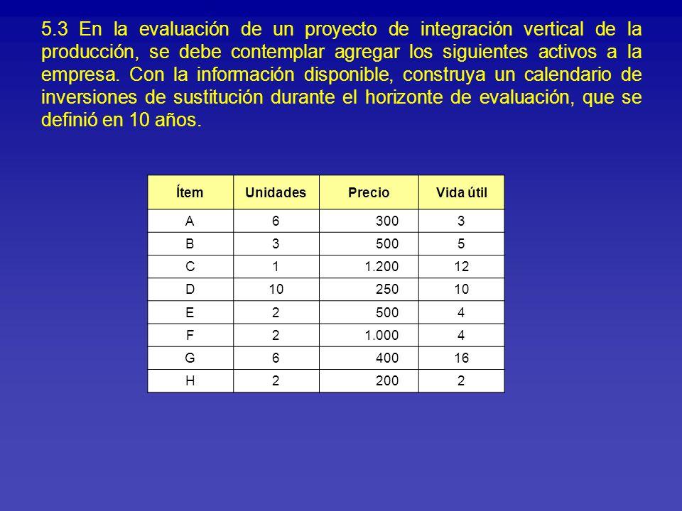 5.3 En la evaluación de un proyecto de integración vertical de la producción, se debe contemplar agregar los siguientes activos a la empresa. Con la información disponible, construya un calendario de inversiones de sustitución durante el horizonte de evaluación, que se definió en 10 años.