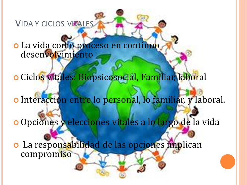 Vida y ciclos vitales La vida como proceso en continuo desenvolvimiento. Ciclos vitales: Biopsicosocial, Familiar, laboral.