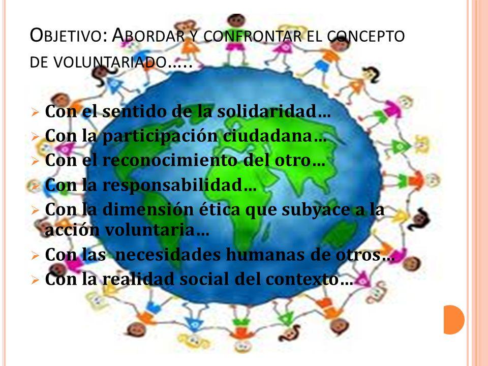 Objetivo: Abordar y confrontar el concepto de voluntariado…..