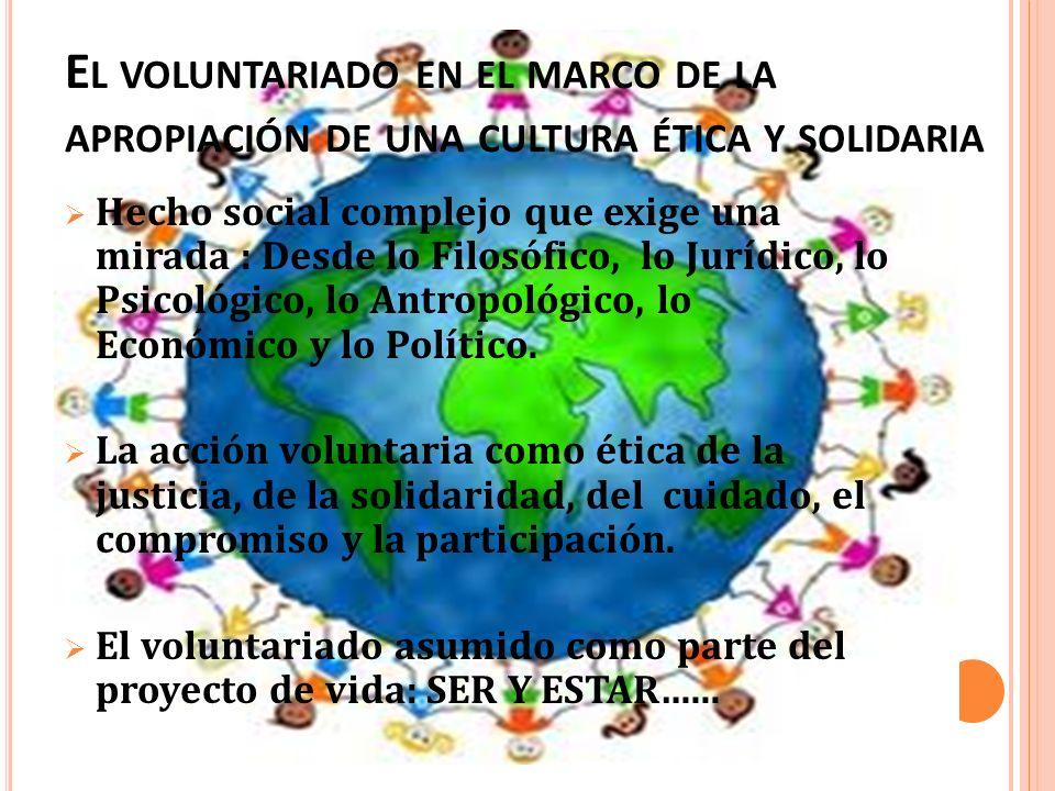 El voluntariado en el marco de la apropiación de una cultura ética y solidaria