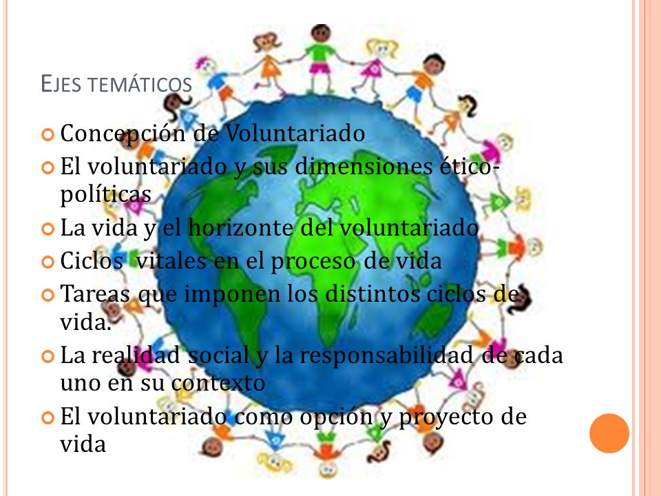 Ejes temáticos Concepción de Voluntariado