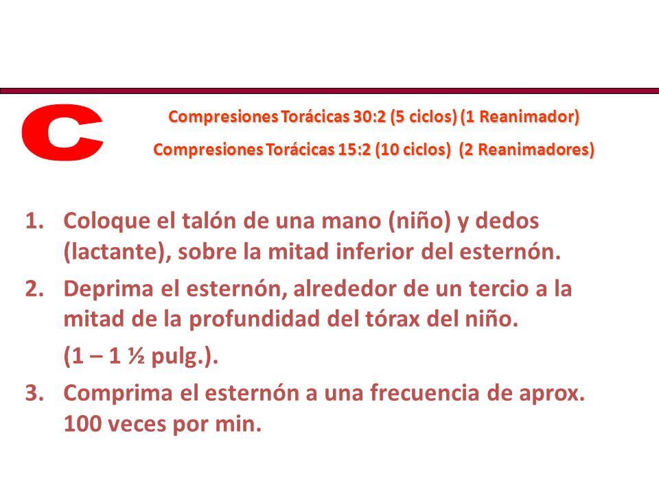 C Compresiones Torácicas 30:2 (5 ciclos) (1 Reanimador) Compresiones Torácicas 15:2 (10 ciclos) (2 Reanimadores)