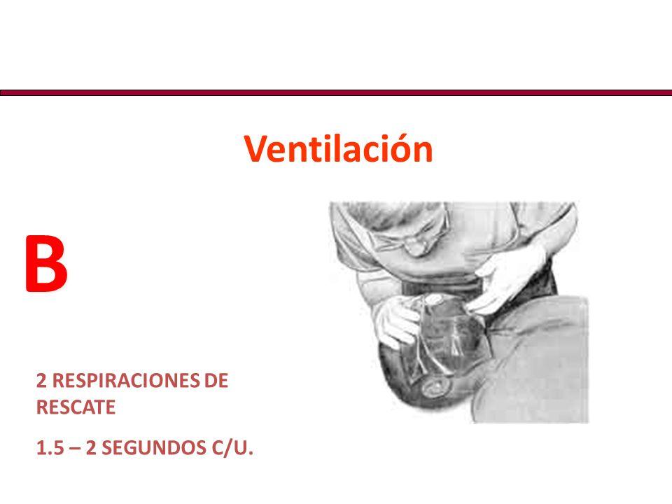 Ventilación B 2 RESPIRACIONES DE RESCATE 1.5 – 2 SEGUNDOS C/U.