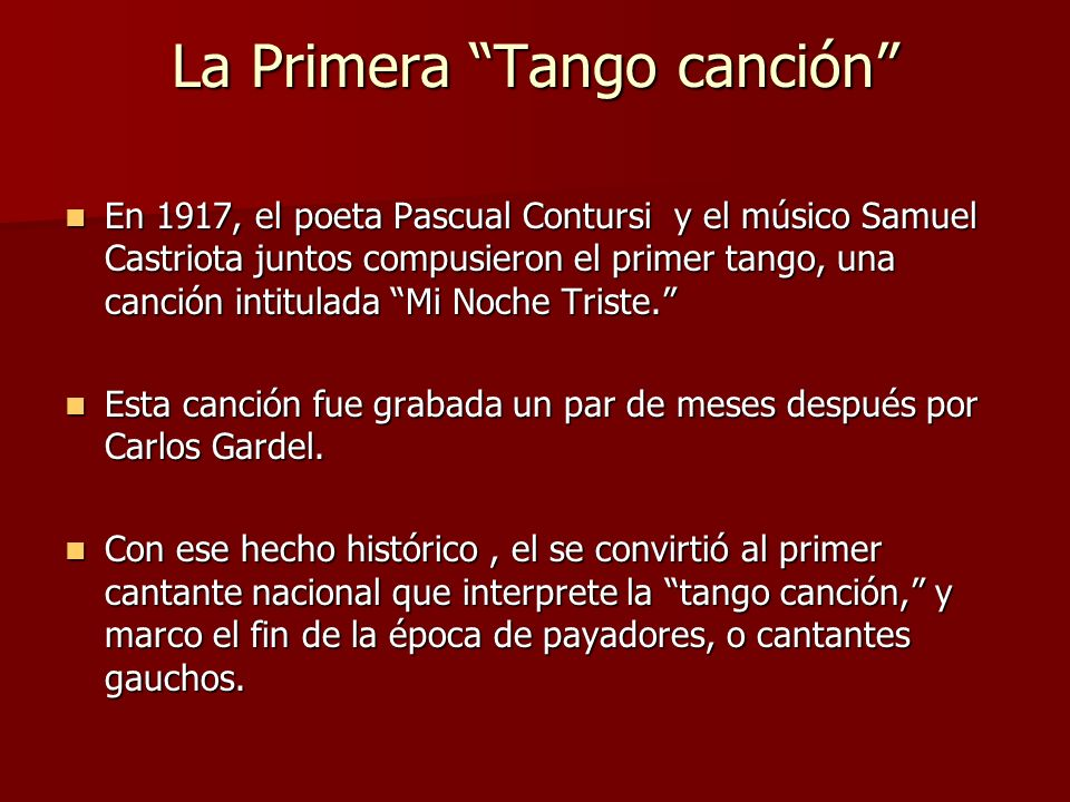 La Primera Tango canción