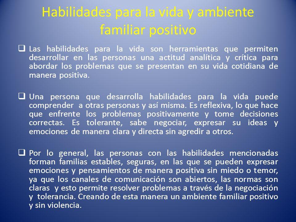 Habilidades para la vida y ambiente familiar positivo