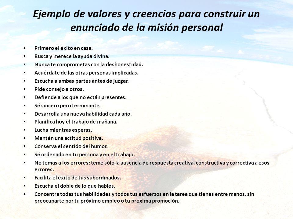 Ejemplo de valores y creencias para construir un enunciado de la misión personal