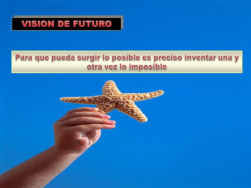 VISION DE FUTURO Para que pueda surgir lo posible es preciso inventar una y otra vez lo imposible