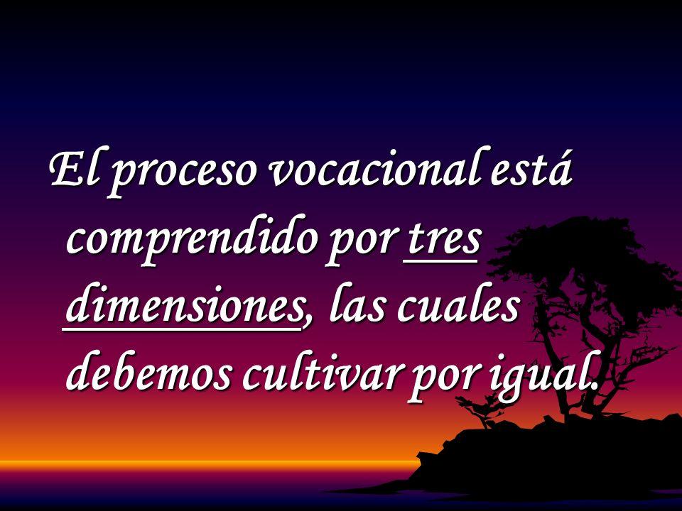 El proceso vocacional está comprendido por tres dimensiones, las cuales debemos cultivar por igual.