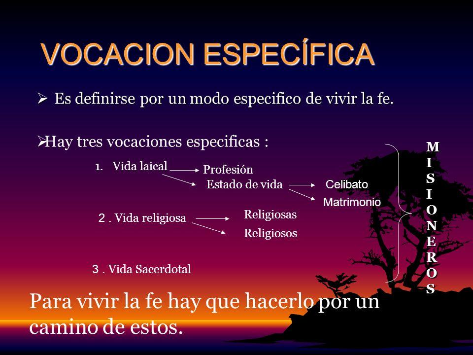 VOCACION ESPECÍFICA Es definirse por un modo especifico de vivir la fe. Hay tres vocaciones especificas :